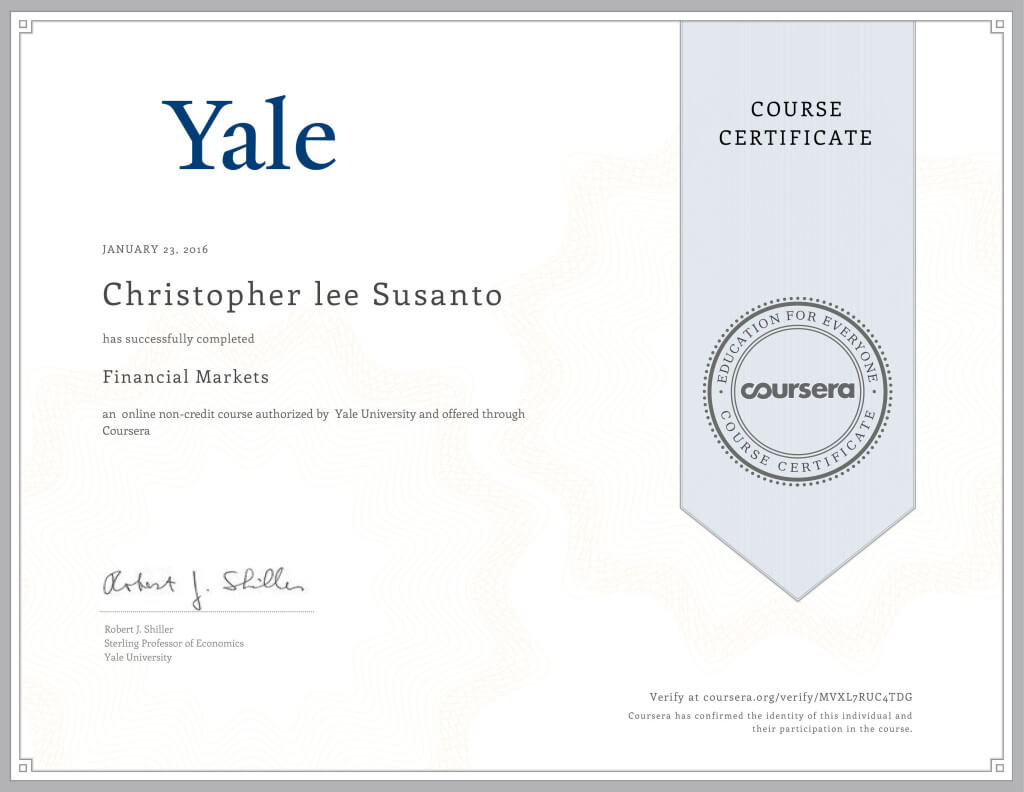Financial Markets Course by Yale University Certificate (www.christopherleesusanto.com)